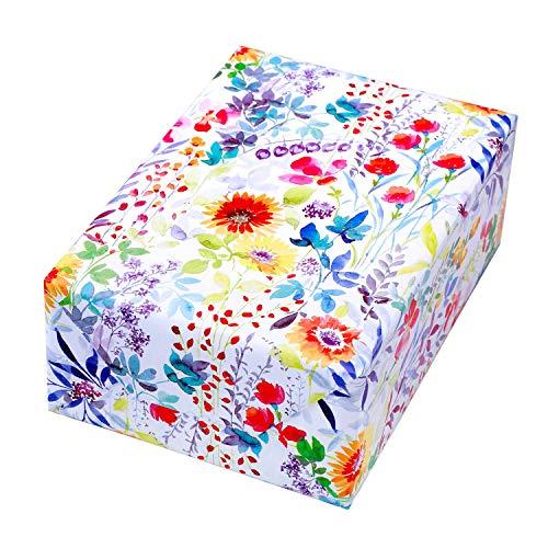 Geschenkpapier 3 Rollen, Motiv Blooms bunte, florale Elemente auf mattem Papier. Hochwertiges Premium-Papier für Geburtstag, Frauen, Sommer, Frühling.