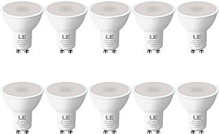 LE Bombilla LED GU10, 5W 450 lúmen, 2700K blanco cálido Lámpara LED GU10, Ahorro de energía reemplaza las bombillas halógenas de 50W, bombillas GU10 de ángulo de haz de 100°, Paquete de 10