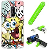 [Ashley Cases] for Samsung Galaxy [ S9+ ] [ S9 Plus ] Cover Case Skin with Flexible Phone Stand - Spongebob Friends
