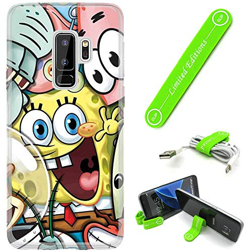 [Ashley Cases] for Samsung Galaxy S9 Cover Case Skin with Flexible Phone Stand - Spongebob Friends
