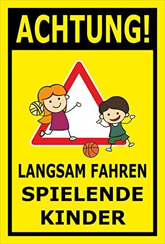 Melis Folienwerkstatt Schild - Spielende Kinder - 60x40cm | Bohrlöcher | 3mm Aluverbund - S00040-026-C - 20 Varianten