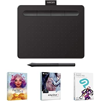 """Wacom Intuos Graphics Drawing Tablet with 3 Bonus Software included, 7.9""""x 6.3"""", Black (CTL4100) (Renewed)"""