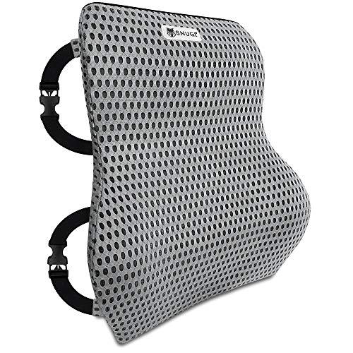 SNUGL Premium Memory Foam Lumbar ondersteuning rugkussen - evenwichtige stevigheid ontworpen voor lage rug pijn verlichting - ideaal rugkussen voor computer/bureaustoel, auto, ligstoel - 4D mesh (Jet Black)