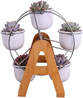 Laproved White Ceramic Pots Ferris Wheel Style Succulent Planters Rack for Home Decor Flower Cactus Native Plant Containers