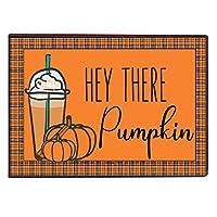 VictoryStore ホームアクセサリー: ハロウィーン ドアマット 24インチ x 36インチ ハロウィンテーマドアマット (Hey There Pumpkin, Pumpkin Spice ドアマット)