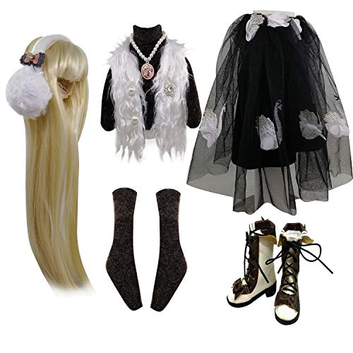 Set Fashion Bekleidung Perücken Schuhe Socken Accessoires vollen Satz für 1/3 21-23inch 60cm BJD Puppen (Sherry)