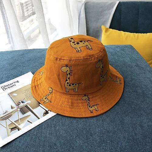 JIAMIN Sombrero de playa de los niños Primavera y Otoño Niños Cubo Sombrero de Dibujos Animados Jirafa Sombrero de Sol Niñas Niños al aire libre Beach Hat Camping Pesca Sombrero de ocio Sombrero
