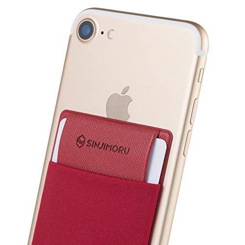 Sinjimoru Handy Kartenetui für Kreditkarten & Bargeld, Slim Wallet Smartphone Kartenhalter zum aufkleben ID Card Holder für iPhone und Android, Sinji Pouch Flap Rot.