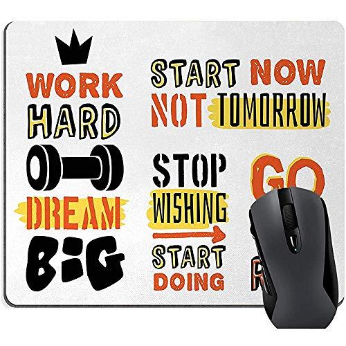 Fitness Citaten Inspirational Mouse Pad, Sport Bevestiging Positieve Citaten Motivationele Typografie Ontwerp Sneakers, Rechthoek Rubber Mousepad