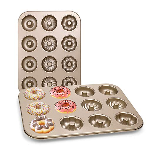 DricRoda 12 Cavity Donut Baking Pan, Non-Stick Donut Baking Tray, Carbon Steel Bagels Mold, Donut Cake Pan for Cake Biscuit Baking (12 - Cavity)