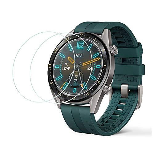 LZS Screen Protector per Huawei Watch GT Active[2 Pezzi] di Alta qualità Durezza 9H Vetro Temperato AntiGraffio Screen Protector Rotondo 2.5D Anti-Bubble Facile da Installare Supporto 3D