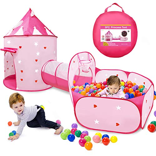 VOJUEAR 3pc Boys & Girls Play Toy Tents and Tunnels,Princess Fairy Tale Castle Play Tent Crawl Tunnel & Ball Pit with Basketball Hoop for Toddlers,Playhouse as Portable Storage Bag (Pink) …