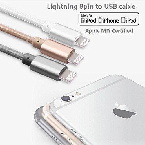 Tiankaid IMF Rayo Certificado de Aluminio USB Cable de sincronización de Datos Enchufe y Cable del Cargador para el iPhone 6 / 6plus / 5s / 5 /, Golden