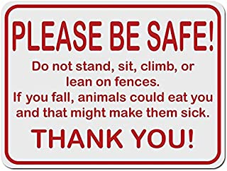 Applicable Pun Please be Safe! Farm Sign Don't Fall Animals Might Get Sick - 12 Inches Tall by 9 Inches Wide Aluminum Sign
