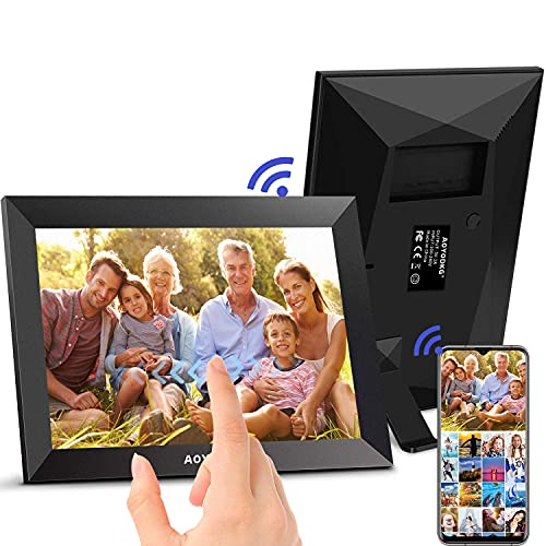 Cornice Digitale WiFi 10,1 pollici - 16GB HD IPS Touch Screen Portafoto Digitale, Mostra e Condividi Foto e Video tramite l App, Auto-Rotazione Cornici Foto Digitale,Con Calendario, Sveglia (nero)