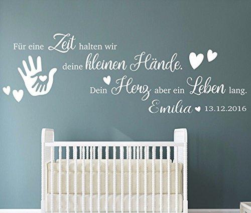 tjapalo® pkm191-name (B160xH53cm) Wandtattoo Kinderzimmer Baby Wandtattoo Spruch für eine Zeit halten wir mit Geburtsdatum Datum Name Wunschname Wandsticker Mädchen jungen Babyzimmer