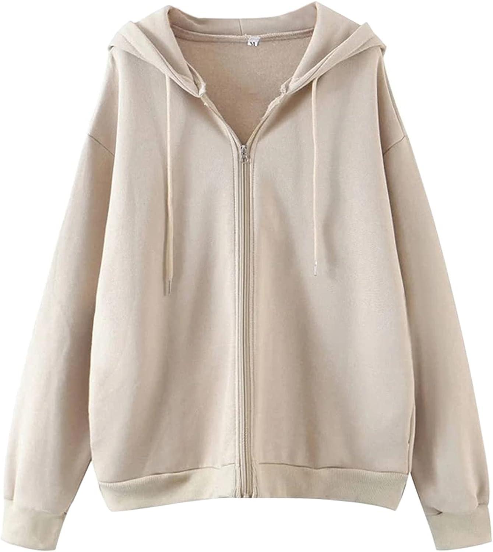 Meladyan Women's Oversized Full Zip Up Hoodie Drawstring Long Sleeve Fleece Solid Y2K Sweatshirt Jacket Slit Pockets