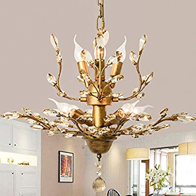 Ganeed Vintage K9 Clear Crystal Chandeliers,Ceiling Lighting,Pendant Lighting Flush Mounted Fixture with 7 Light for Living Room Dinning Room Restaurant Porch Hallway (Gold)