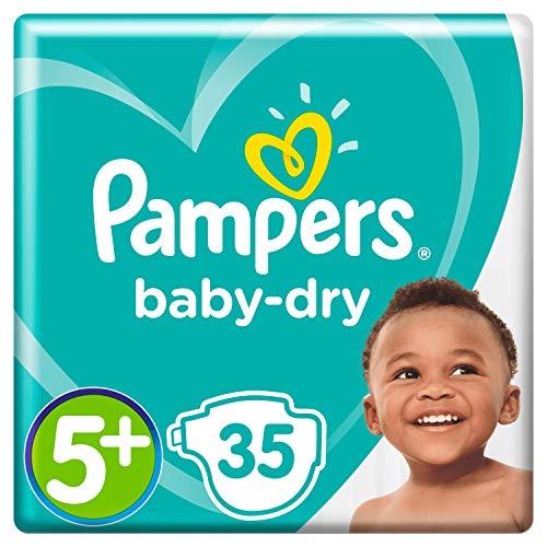 Pampers Baby-Dry Größe 5+, 35 Windeln, 12-17 kg, Essential Pack, Luftkanäle für atmungsaktive Trockenheit über Nacht