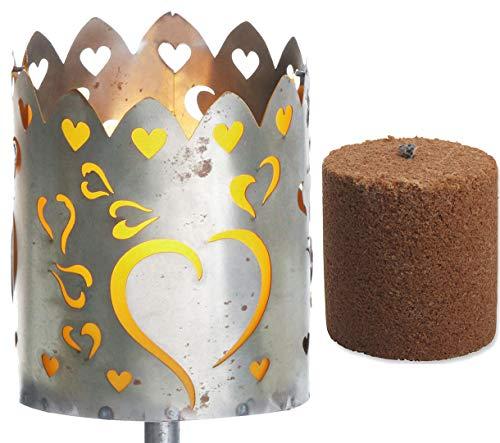 Novaliv Gartenfackel Herzen Feuerschale Metall mit Stiel und Brennmittel