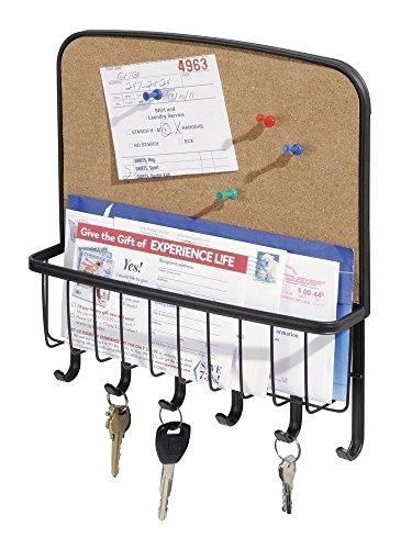 mDesign Briefablage und Schlüsselleiste aus Stahl - für ordentliche Aufbewahrung von Schlüssel, Briefe, Prospekte - mit Pinnwannd – Schlüsselbrett mit Ablage – Farbe: Bronze