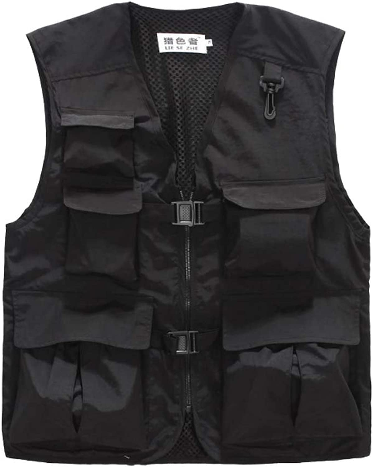 Breathable Mesh Outdoor Men Fishing Photographer Vest Waistcoat Black 3XL
