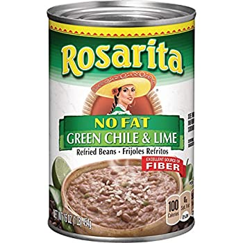Rosarita No Fat Refried Beans with Green Chile and Lime 16 oz 12 Pack