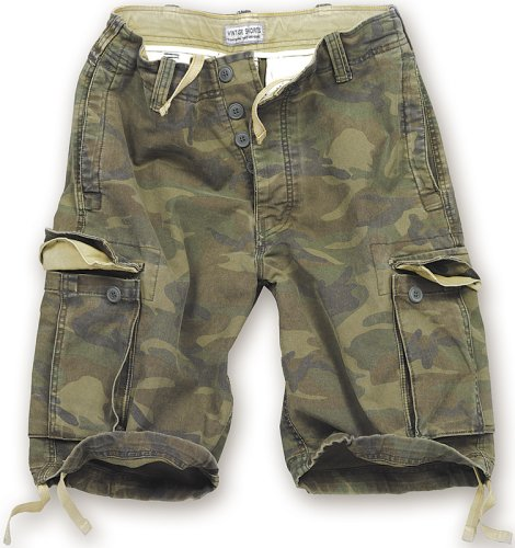 Surplus Vintage Short pour Homme Motif Camouflage, Vert, Homme, Vintage Shorts Washed, S