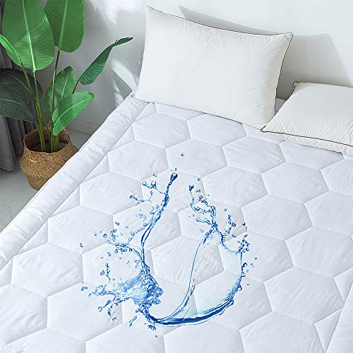 "Cosybay Waterproof Mattress Pad Cover -Breathable Mattress Protector Pillow Top Quilted Fitted Sheet Down Alternative (8-21"" Fitted Deep Pocket–Twin Size)"