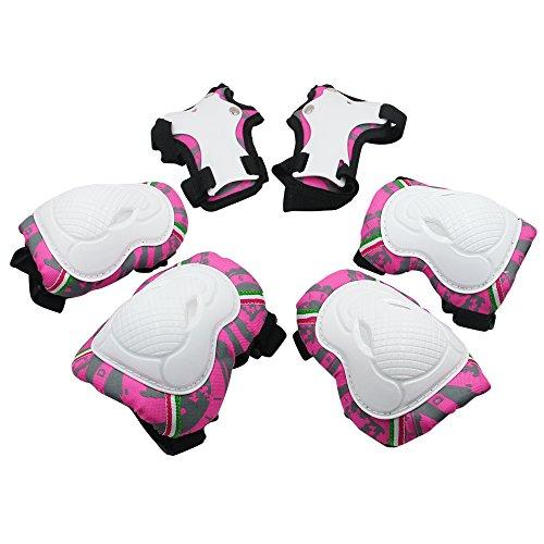 SKL 6 Piezas Juego de Rodilleras para niños Coderas y Almohadillas de muñeca Conjunto de protección Infantil para Patinaje Ciclismo En línea Roller Sports Safe Guard (Rosa)