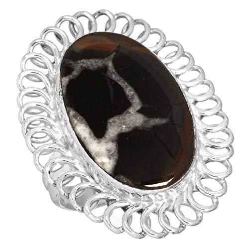 Jeweloporium Solide 925 Sterling Silber Ring Natürlich Septarian Gonaden Edelstein Modern Schmuck Größe 49 (15.6)