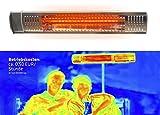 Gardigo Infrarot Heizstrahler für den Außenbereich I Garten, Garage, Terrasse, Werkstatt I 2000 Watt I Wandhalterung I Angenehme Wärme I Edelstahl - Aluminiumblende