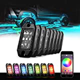 GoodRun Rock Lights 8 Pods RGB underglow LED kit with Bluetooth Controller, RGB remote controll & Timing Function & Music Mode for Underglow Off Road Jeep Truck SUV UTV Boat as Chassis Lights, Deck L
