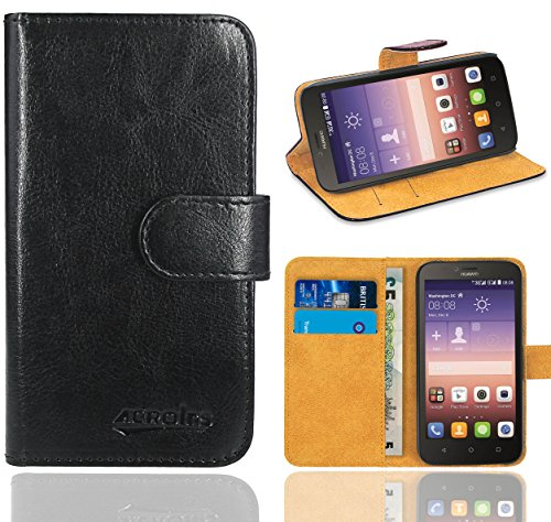 Huawei Y625 Handy Tasche, FoneExpert® Wallet Hülle Flip Cover Hüllen Etui Ledertasche Lederhülle Premium Schutzhülle für Huawei Y625 (Schwarz)
