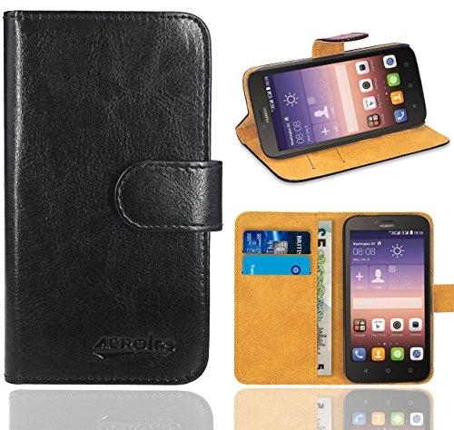FoneExpert® Huawei Y625 Handy Tasche, Wallet Hülle Flip Cover Hüllen Etui Ledertasche Lederhülle Premium Schutzhülle für Huawei Y625 (Schwarz)