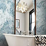 York Wallcoverings Oil & Marble Blue Premium Peel and Stick Wallpaper