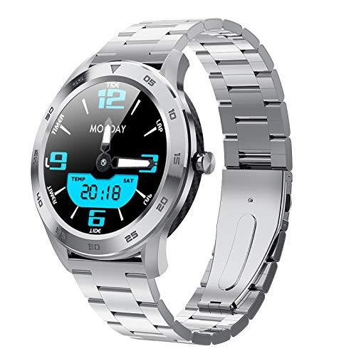 Xyamzhnn Smart Watch Soporte Call Reminder/Monitoreo de tarifas cardíacas para Hombres Mujeres (Negro), 1,3 Pulgadas TFT Pantalla de Color de Acero Inoxidable Wamkband (Color : Silver)