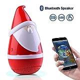 Santa Claus Bluetooth Speakers, Portable Stereo Speaker, Marceloant Wireless Tumbler Stereo Audio Speaker with LED Light, Rich Bass, Rechargeable Toy Speaker