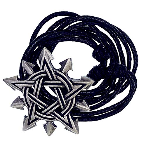 Magic Wicca Jewelry Chaosagram Pentacle Pentagram Chaos Star Wiccan Pagan Pewter Unisex Men's Pendant Necklace Wealth Money Good Luck Lucky Charm Talisman Protection Amulet with Black Adjustable Cord