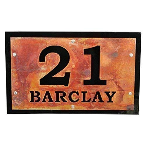 Rustic Black Metal House Address Number and Today's Direct stock discount only Name Street I 24x15