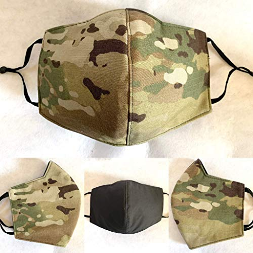Military OCP Camouflage Uniform Face Mask with Filter - Handmade Face Covering, High Quality 4 Layers Washable and Reusable Made in USA, Fast Shipping