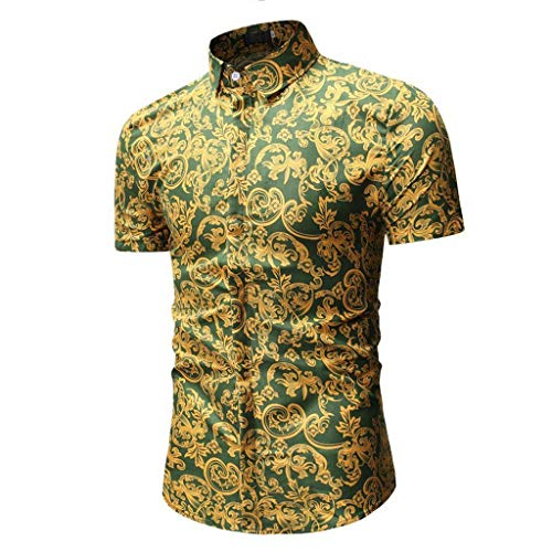 CICIYONER Herren Hawaiihemd Hawaiishirt Urlaub Hemd Strandhemd Freizeithemd Hawaii-Print mit Kurzarm Schwarz Blau Rot Grün M L XL XXL XXXL