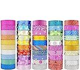Janyun, set di 50 rotoli di nastro adesivo washi glitterato, ideale per decorazioni fai da te, scrapbooking, adesivi, decorazioni di carta, nastro adesivo per la scuola (motivo casuale)