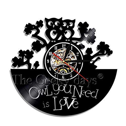 GXYtable cloth Búho Pared Arte decoración Reloj búho pájaro Retro Vinilo Registro Pared Reloj 4d Pared Reloj Reloj Arte Pared Sala de Estar decoración