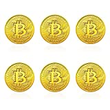 6pieces Gold Bitcoin Coin Collection with 6 Cases - Physical Cryptocurrency Coins Gift