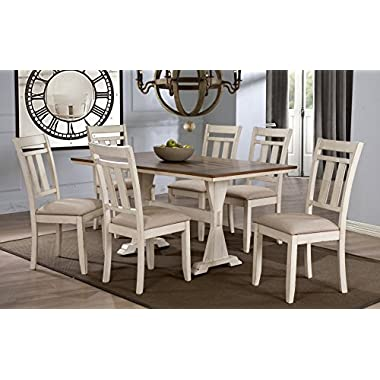 Wholesale Interiors 7 Piece Roseberry Shabby Dining Set with Trestle Base 60  Fixed Top Dining Table, Oak/Distressed White