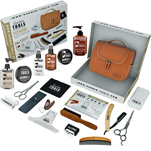 ✮ BARBER TOOLS ✮ Kit/Set/Estuche de arreglo y cuidado de la barba y afeitarse | Cosmético Made in French