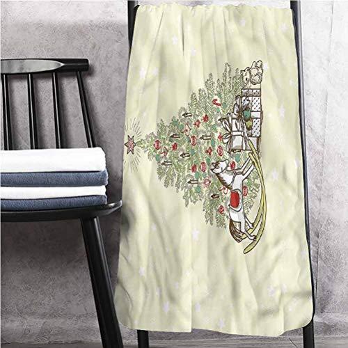 ScottDecor Christmas Decorative Bathroom Towels Bath Towels in Bulk Tree with Rocking Horse 27' W x 54' L