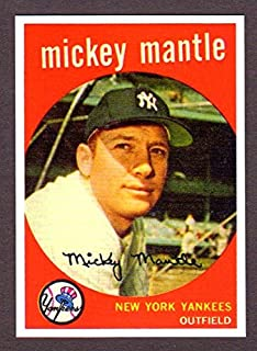 Mickey Mantle 1959 Topps Baseball Reprint Card with Original Back (Bold Color) Sharpe !! (New York)
