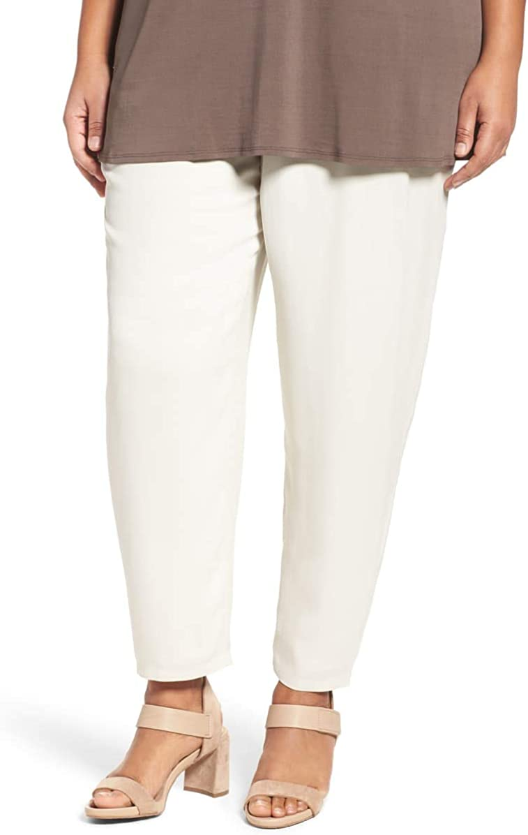 Eileen Fisher Womens Plus Silk Pull On Casual Pants Beige 3X